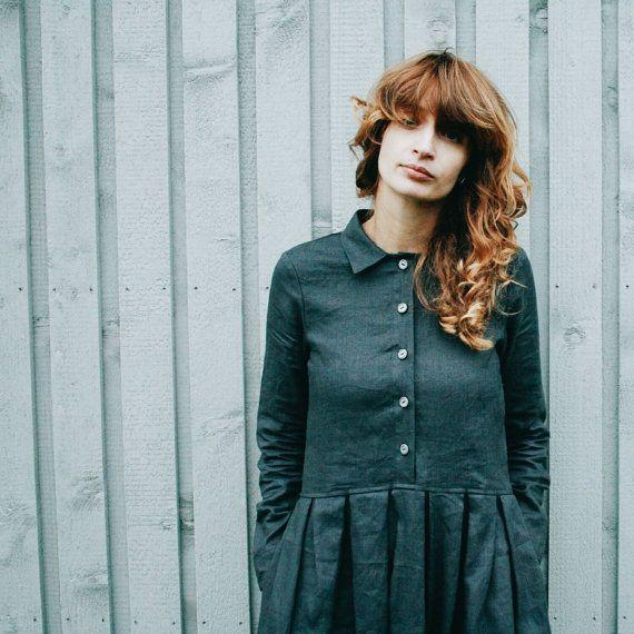 Robe lin gris - robe à manches longues - robe lin - longue robe de femmes - à la main par OFFON du charbon de bois