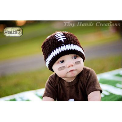 You are viewing a LET'S PLAY Some FOOTBALL Baby Hat it is crocheted using soft yarn.  This listing is for the hat only !!  This hat is perfect for any baby. It is pictured in white and brown. They are made with soft yarn to be comfortable for any precious little one.