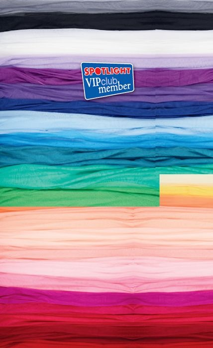 Poly Stretch Tulle  136cm wide. 100% polyester  Regular Price: $4.99