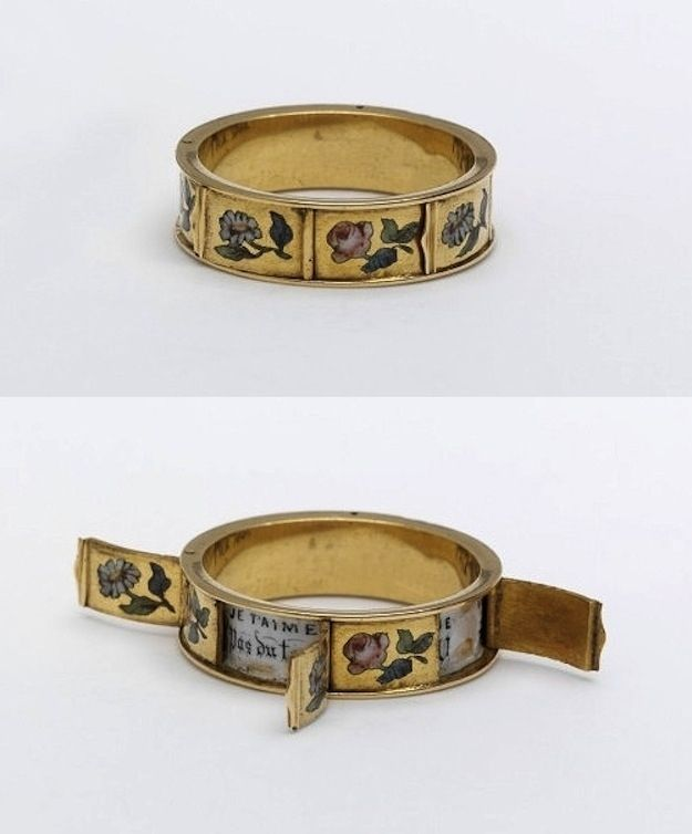 "This ring was made in France in the 1800s with doors that open, revealing hidden love messages beginning with ""Je t'aime."""