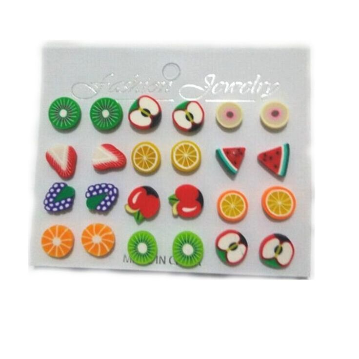 2016 Fashion assorted Polymer Clay earring  Handmade Polymer Clay Fruits cartoon Earrings Girls Children  12 pair/set