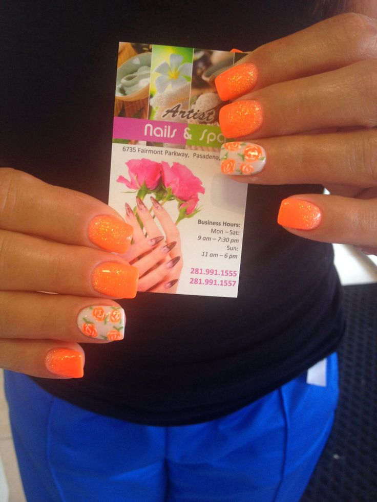 143 best artist nails and spa images on pinterest design beauty neon orange and white nails with roses designs prinsesfo Gallery