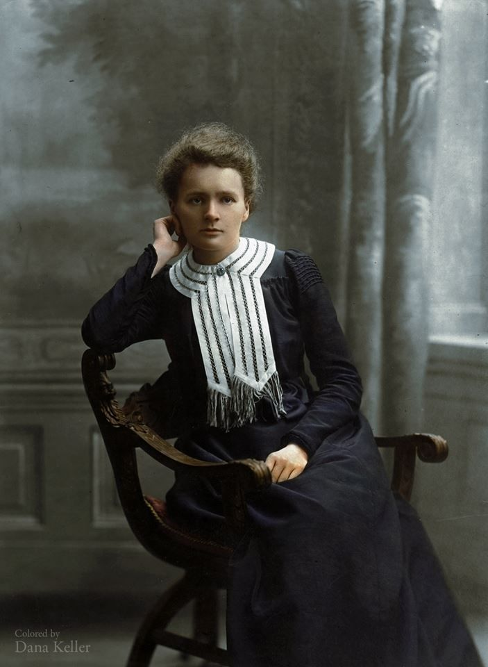 Marie Skłodowska-Curie A Polish physicist and chemist, famous for her pioneering research on radioactivity. First person in the history to be awarded with the two Nobel Prizes in diverse fields of science. Marie Curie's notebooks are still too radioactive to be handled.