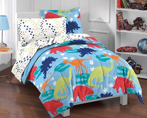 Wacky Dinosaurs Bedding Little Boys Comforter Set 5pc Twin Blue Bed in a Bag Ensemble