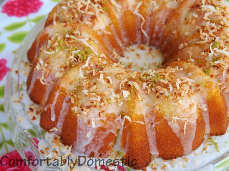 Coconut & Lime Bundt Cake by my friend Kirsten of Comfortably Domestic; guest posted at Bakeaholicmama.comBakeaholic Mama, Bundt Cakes, Coconut Bundt, Coconut Limes, Coconut Cake, Keys Limes, Pound Cake, Limes Glaze, Birthday Cake