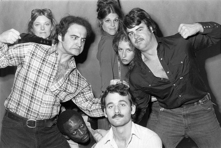 Jane Curtin, John Belushi, Gilda Radner, Laraine Newman, Dan Aykroyd, Garrett Morris, and Bill Murray. Not Ready for Prime Time.