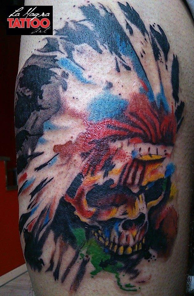 #watercolor tattoo #indian #skull