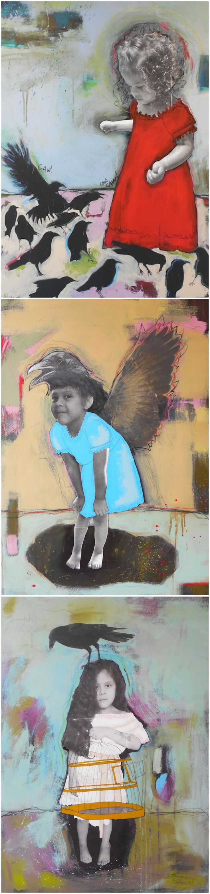 "http://ritamariagallery.blogspot.com/2014/05/the-crow-and-spirit-of-girl.html ""Purity"" At this young age, the heart is so open and pure. The crows flock to her, because her spirit shines so bright. They understand her and she understands them. Together they dance in rhythm."