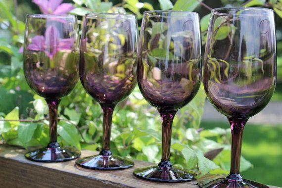 SEVEN 7 amethyst purple wine glasses goblets  by polkadotsandcurls, $69.99