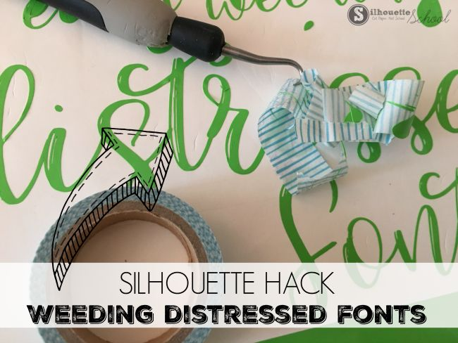 Don't avoid cutting distressed fonts on vinyl or heat transfer vinyl, just because you're scared of the weeding process. This Silhouette hack will help you with easily and quickly weeding all of these