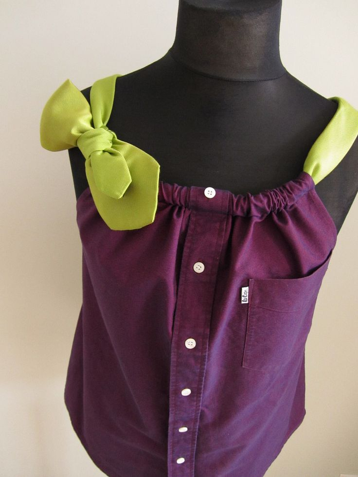 Good Idea Upcycled Clothing - Boyfriend Tank Top in Iridescent Purple with Two Changeable Necktie Shoulder Straps - Womens Upcycled  Clothing. $48.00, via Etsy.