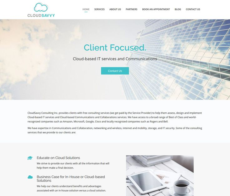 2017 / Website design for CloudSavvy Consulting – a company providing Cloud-based IT consulting services. #webdesign #webdevelopment #eggsmedia #websitedesign #itconsulting