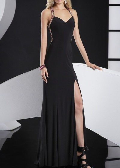 2017 Custom Made Black Bodice Prom Dress,Halter Beading Evening Dress,Sexy Side Slit Party Gown,Sleeveless Pegeant Dress,High Quality