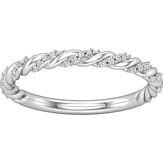 Twisted Rope Diamonds Wedding Band  14K Gold or Platinum  Chic  Contemporary