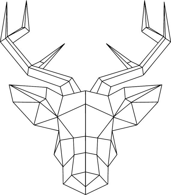 Straight Line Drawing Easy : Geometric deer head with antlers wallsticker by