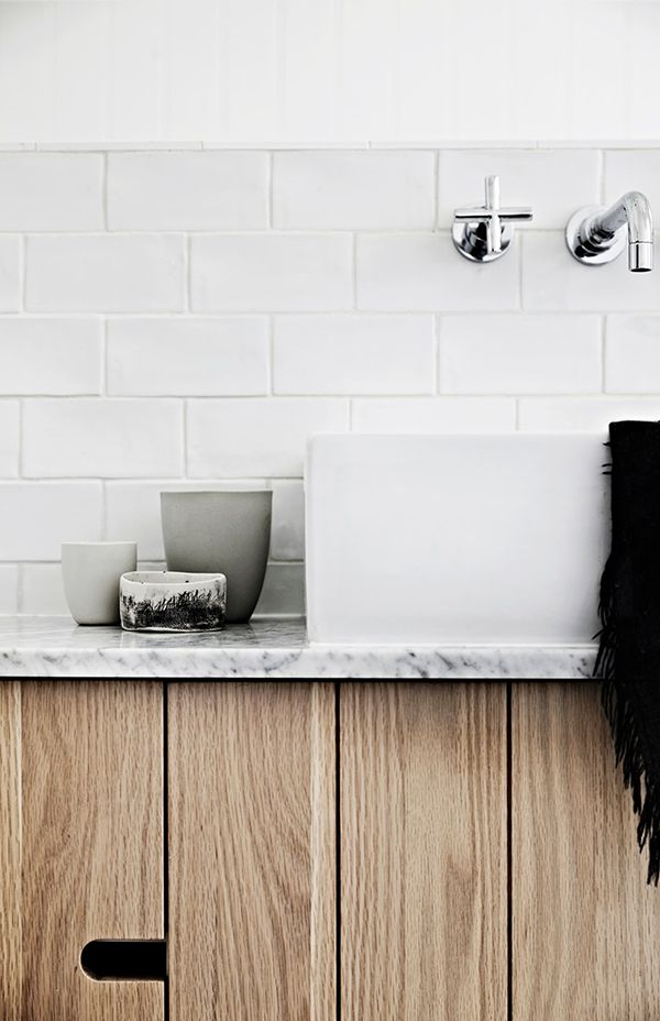 WALL MOUNTED FAUCET. SQUARE SINK,. DOWNSTAIRS BATH. Whiting Architects | Sharyn Cairns