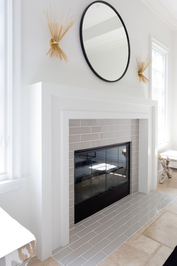 Wood mantle and Shelving by fireplace
