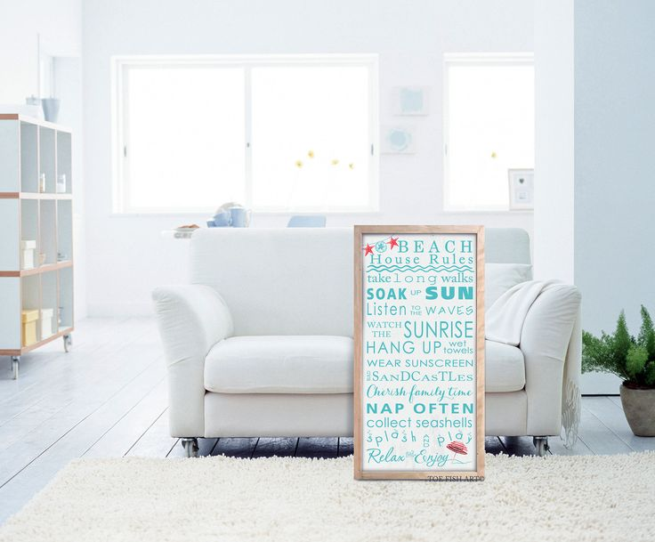 Beach Rules Sign Typography Word Art housewarming gift