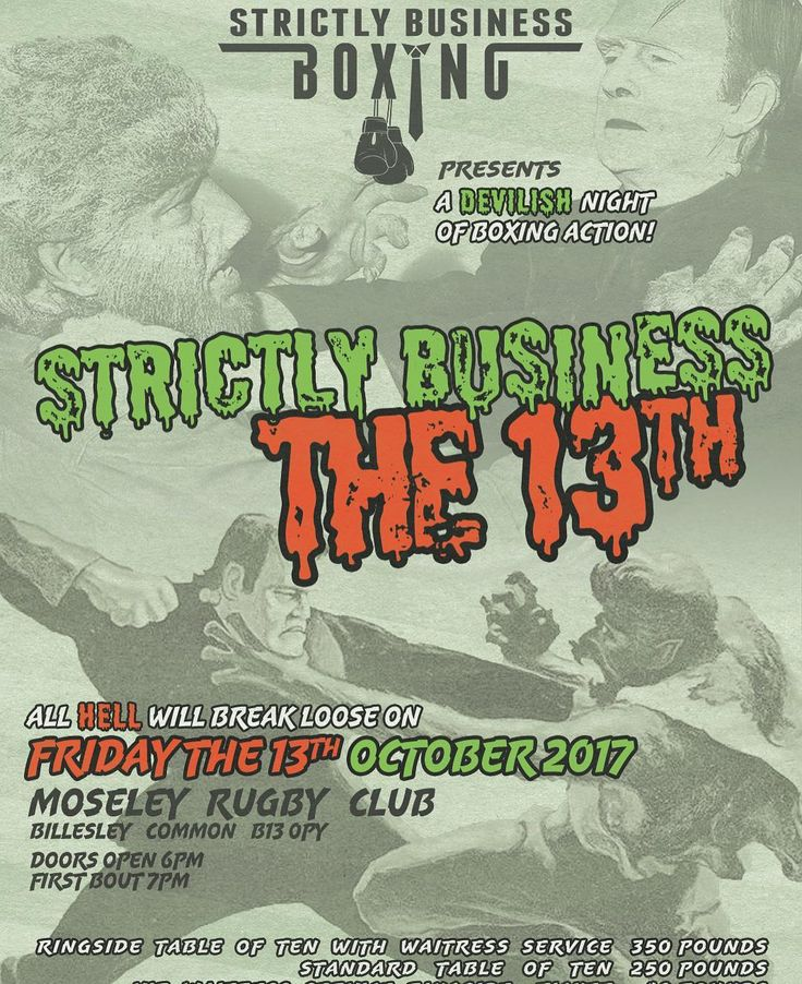 Strictly Business Boxing XIII Friday 13th October at @birminghammoseleyrugby - An explosive night of boxing action held at the ever popular Moseley Rugby Club. - Get in touch with @samrigs for tickets now. VIP tables are selling out fast so get yours now to avoid disappointment  - #boxing #birmingham #solihull #moseley #rigsfitness #strictlybusiness #boxingshow #boxingtraining #boxinggym #boxinglife #boxingfan #boxinghype #midlands #gym #training #exercise #fitness