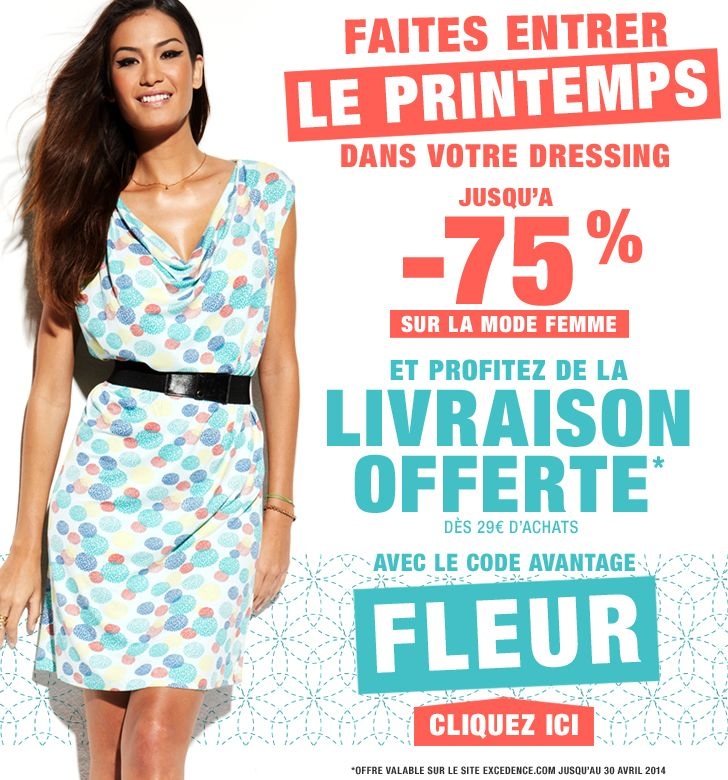 Email promo code FLEUR - 06 avril 2014 / http://www.excedence.com #EmailMarketing #DigitalMarketing #EmailDesign #EmailTemplate #SocialMedia #EmailNewsletters #EmailRetail #excedence #codepromo #codereduc #codereduction