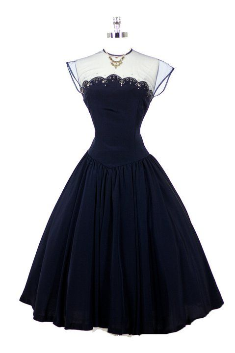 ~1950's Navy Dress~ #dress #vintage #retro #silk #classic #romantic #promdress #feminine #fashion #ballerina