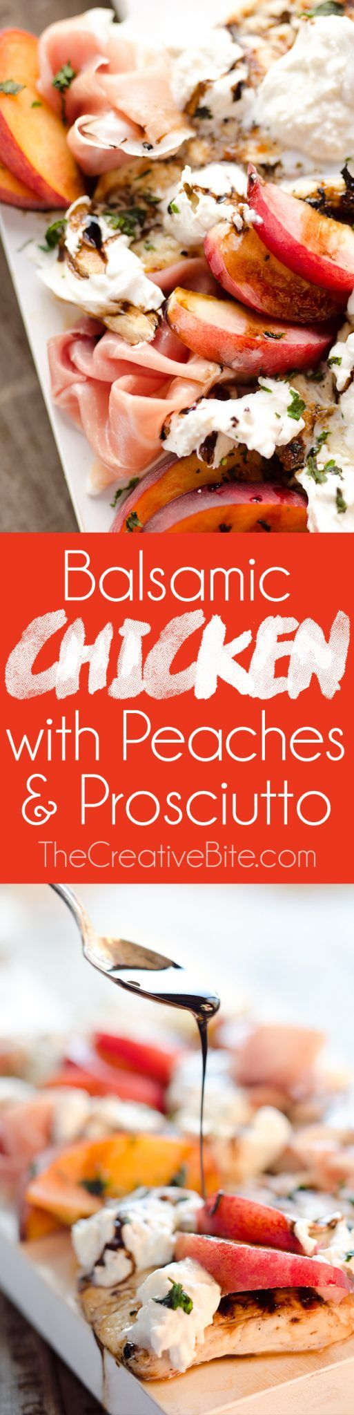 Balsamic Chicken with Peaches & Prosciutto is a deliciously simple and healthy dinner made on the grill in just 10 minutes! Grilled chicken is topped with fresh peaches and burrata cheese and finished off with a balsamic reduction and basil for a low carb recipe that will make everyone's mouth water! #Healthy #Grill #Recipe #LowCarb