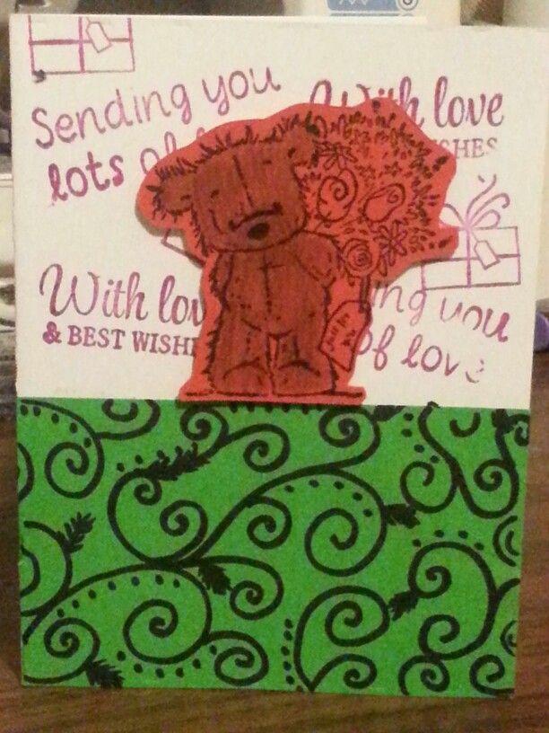 rough design tryout teddy bear card