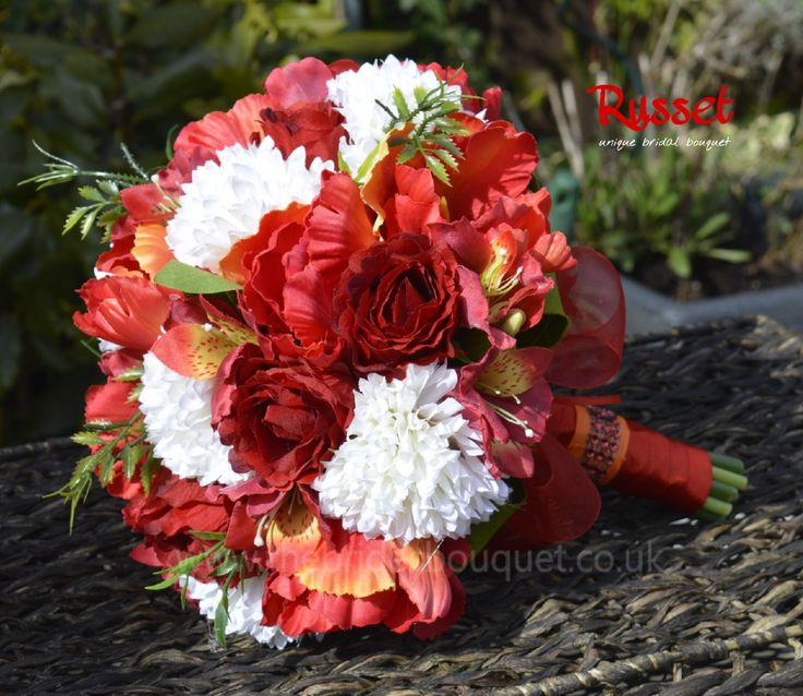 Wedding Bouquet featuring deep red and orange toned silk flowers, French tulips, alstromeria, chrysanthemum and deep red roses, a one off bouquet perfect for a Fall wedding - £43, one off and we ship worldwide