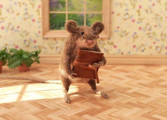 Brown Felted Mouse Wool Art Mouse Figurine by GentlySpokenFriend