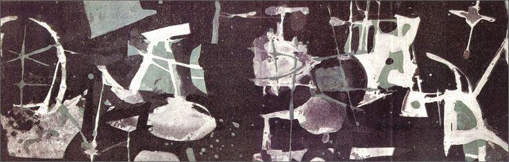 Invitation au vernissage de la Galerie Arnaud, 1955  Gouache sobre papel   9,5 x 29 cm    En paradero desconocido