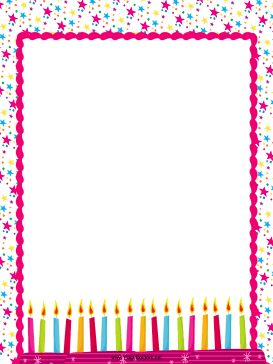 This free, festive, pink border includes stars and birthday candles. It's great for a party. Free to download and print.