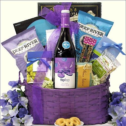 Flip Flop Pinot Noir - Summer Wine Gift Basket-  The Flip Flop California Pinot Noir Red Wine is the centerpiece of this beautiful basket which also includes Too Good Gourmet Triple Chocolate Cookies in a Flower Gift Box, Too Good Gourmet Artichoke Dip Mix, Deep River Salt & Vinegar Kettle Cooked Chips and more. - See more at: http://bestgiftbasketswithstyle.com/best-summer-fun-beach-resort-gift-baskets-online-delivered.html