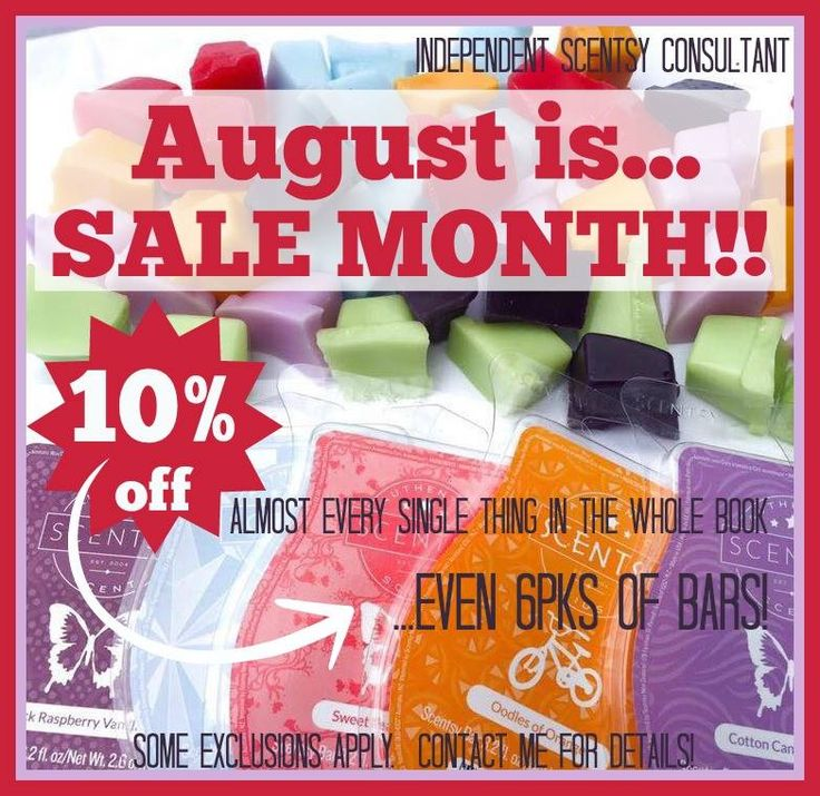 August is Sale Month, almost everything in the Spring/Summer catalog is on SALE at 10% off. Check it out at www.smellarific.com.