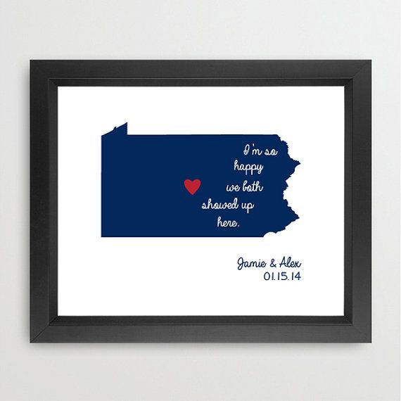 Im so happy we both showed up here. Makes a great graduation, birthday, wedding, or shower gift!    Art print of Pennsylvania with a heart