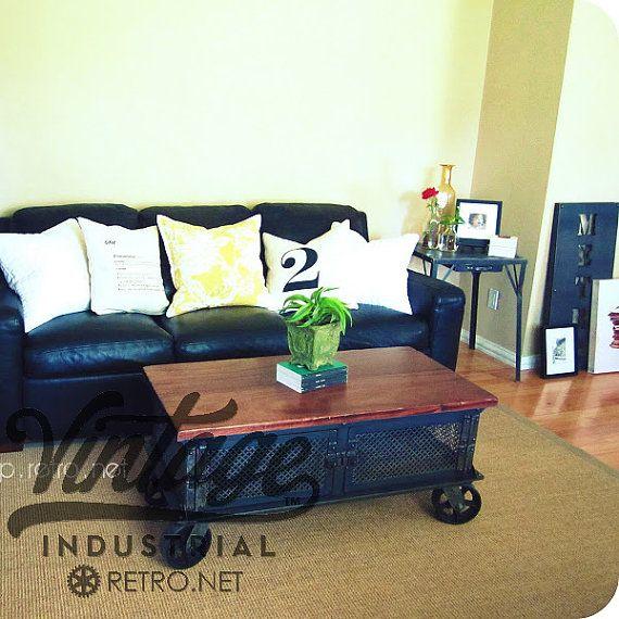 Example painted furniture Ellis Coffee Table / Vintage Industrial Flat Panel TV Stand on