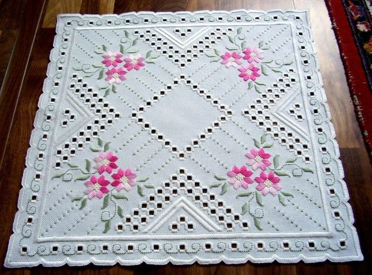 Hardanger Embroidery Doily with Spring Flowers Handmade from Germany   eBay