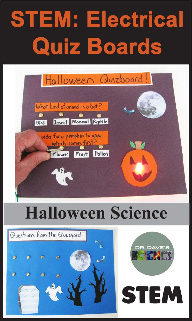 Halloween science and Halloween STEM activity.  Electricity and simple circuit project. Complete description and Halloween templates included.