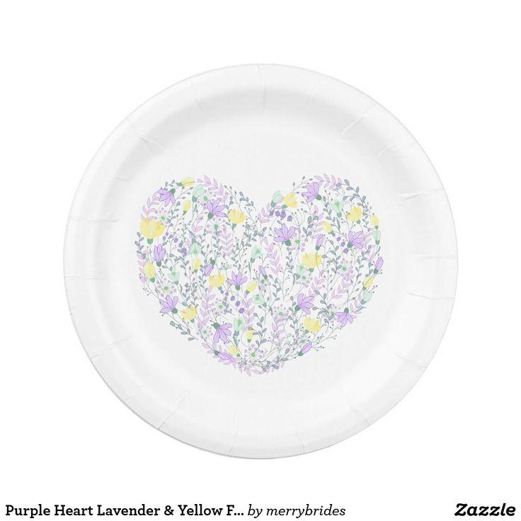 Purple Heart Lavender & Yellow Flowers - Wedding Paper Plate