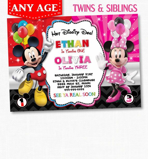 Mickey Minnie Mouse Twins Birthday by PixelPerfectShoppe on Etsy