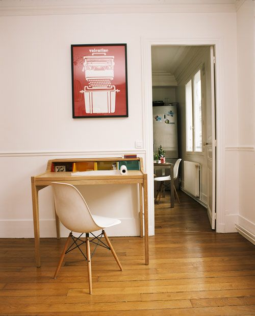I want this desktop and would take the chair, too. Desktop by The Hansen Family, Chair: Eames Chair with dowel base