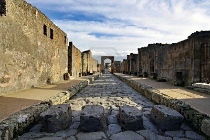 Weergave van Pompeii vergiftigt. Italia Pompei is een verwoeste Roman stad bij moderne Napels in de Italiaanse regio Campania