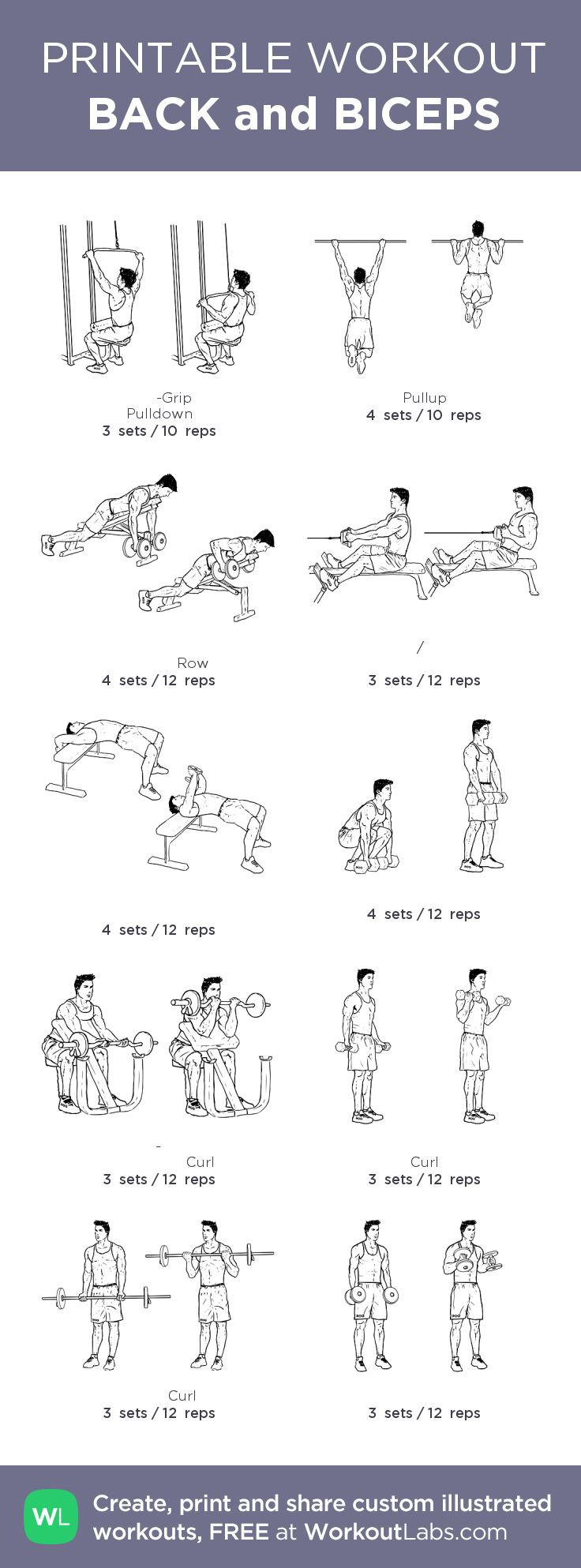 BACK and BICEPS:my custom printable workout by @WorkoutLabs #workoutlabs #customworkout
