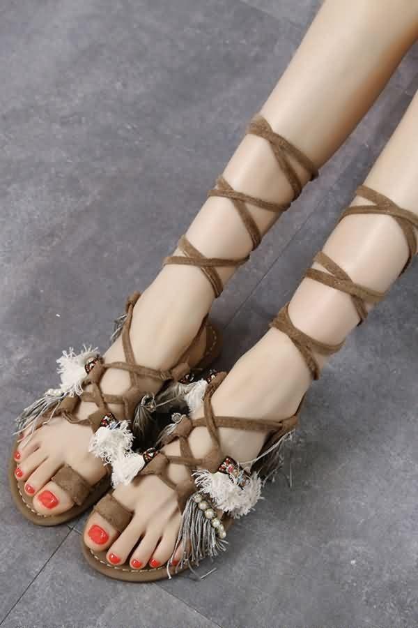089ac6012 Khaki Fringe Imitation Pearl Lace Up Toe Ring Gladiator Sandals in 2019