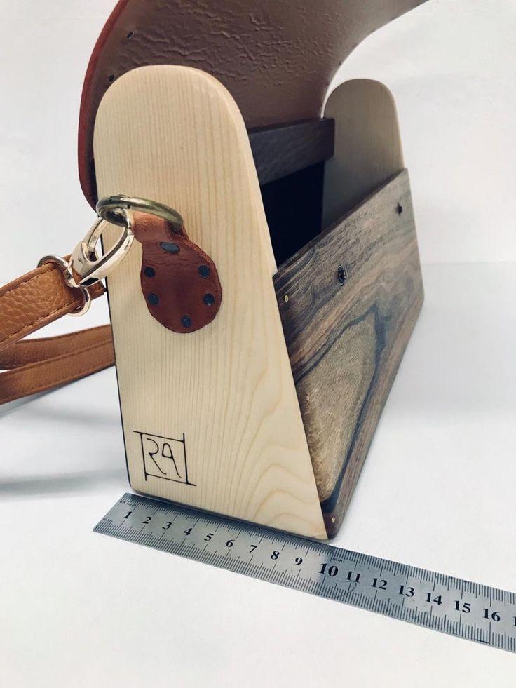 Sustainable vintage woodbag for ladies - Unique personalised wooden handbag - Vintage leather shoulder bag - Leather handbag gift for her