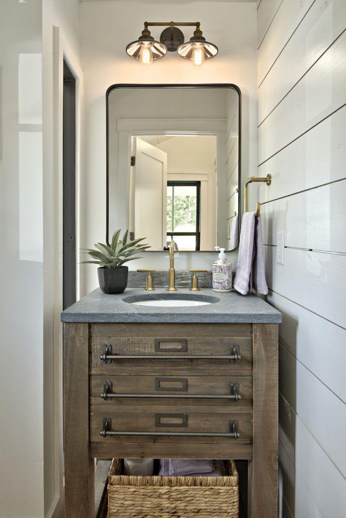 Modern Farmhouse Powder Room Bathroom With Shiplap Wall