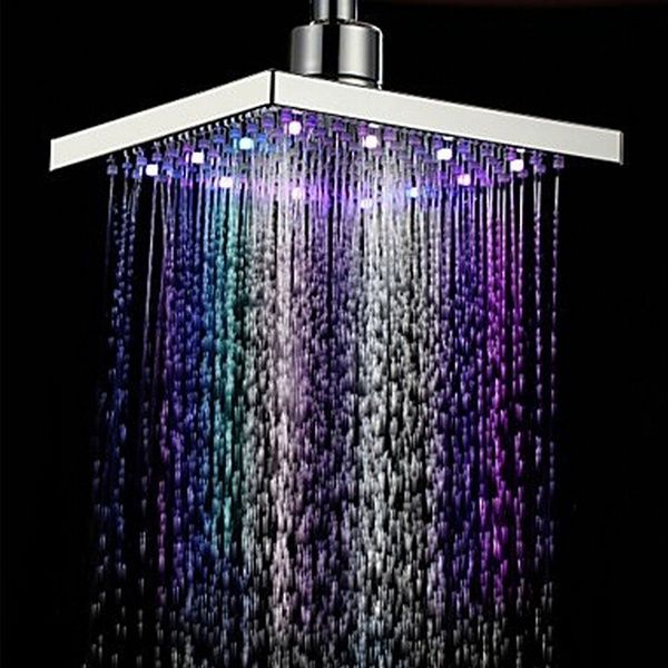 Bathroom Led Shower Head 7 Color Changing Pressure Sensitive Water Glow Light Wd In 2020 Contemporary Shower Led Shower Head Led Color Changing Lights