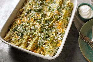 Enchilada Egg Bake with Fresh Salsa Verde recipe
