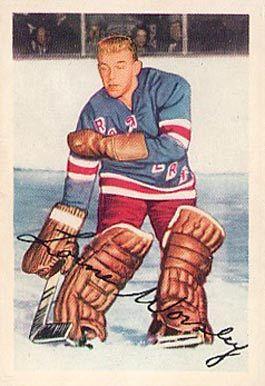 gump worsley hockey cards | 1953 Parkhurst Gump Worsley #53 Hockey Card