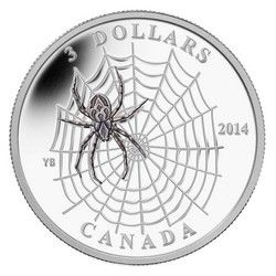 Royal Canadian Mint $3 2014 Fine Silver Coin - Animal Architects - Spider Web $69.95