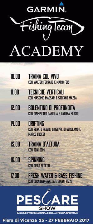 Ogni ora sul palco dello stand #GarminMarine del Pescare Show di #Vicenza Antonello Salvi e tutto il #GarminFishingTeam vi racconteranno trucchi e segreti delle diverse tecniche di pesca ecco il calendario. La #GarminFishingTeamAcademy condotta da Antonello Salvi: un evento da non perdere!  #GarminMarine Padiglione 7 Stand 612 - http://ift.tt/1HQJd81